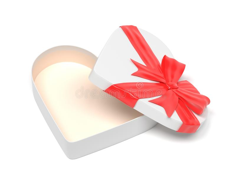 Vit gåvaask i hjärtaform Öppen tom behållare som dekoreras med den röda bandpilbågen 3d som fäster den lätta redigerande mappillu royaltyfri illustrationer