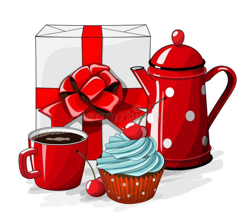 Vit gåvaboxt med det röda bandet och muffin med den blåttkräm och körsbäret, koppen kaffe och rött te lägger in på vit stock illustrationer