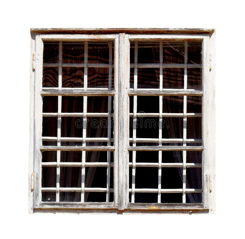 Vit gammal fönsterisolat i vit bakgrund royaltyfria foton