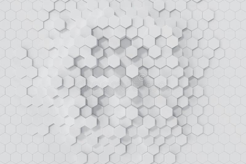 Vit geometrisk sexhörnig abstrakt bakgrund framförande 3d vektor illustrationer