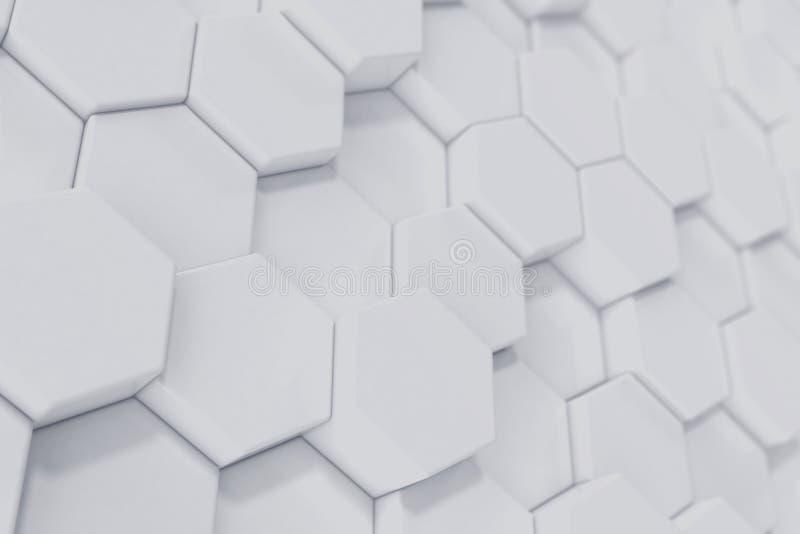 Vit geometrisk sexhörnig abstrakt bakgrund framförande 3d royaltyfri illustrationer