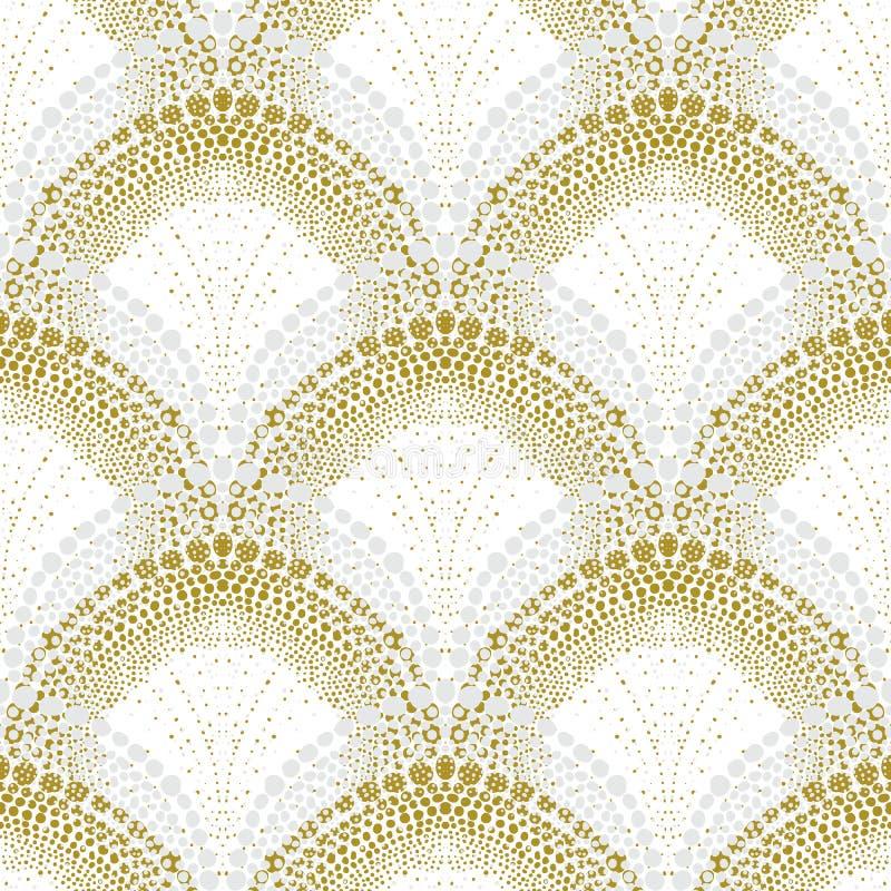Vit geometrisk textur i art décostil stock illustrationer