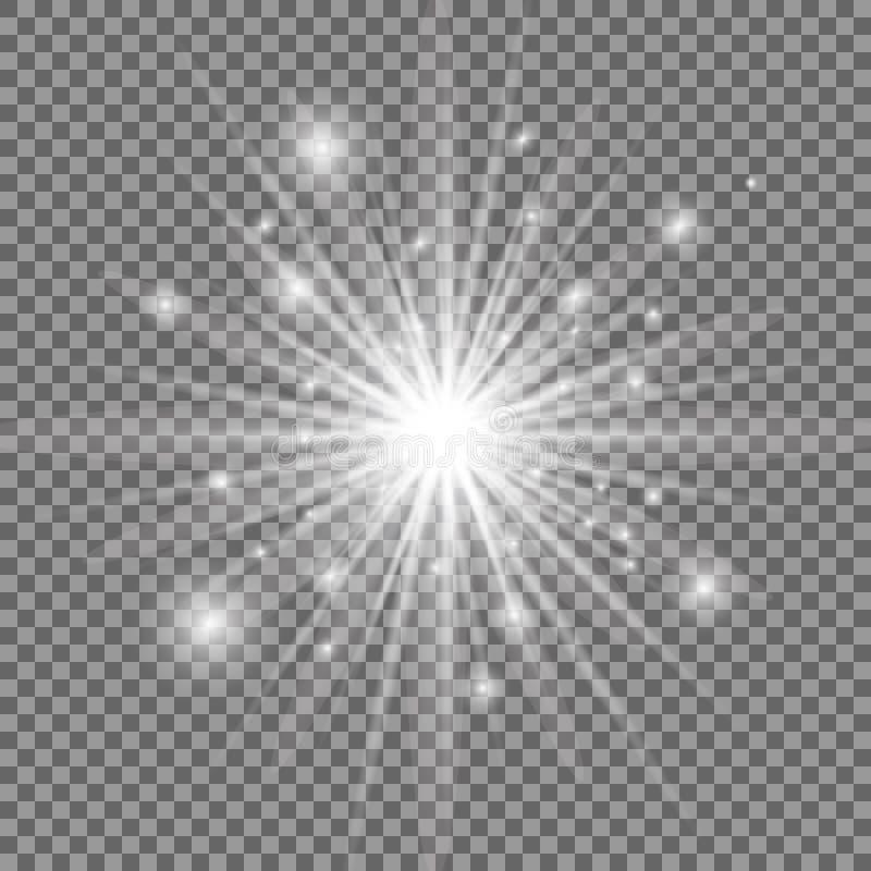 Vit glödande ljus explosion med genomskinlig bakgrund också vektor för coreldrawillustration ljus stjärna Glänsande signalljus royaltyfri illustrationer