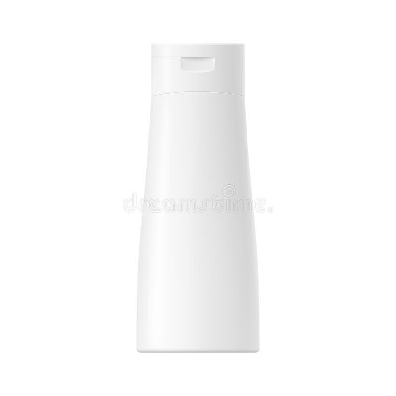 Vit glansig plast- flaska för vektor med locket royaltyfri illustrationer