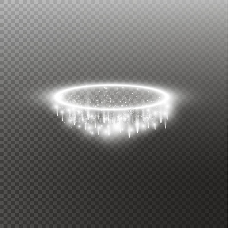 Vit gloriaängelcirkel Isolerat på svart genomskinlig bakgrund, vektorillustration royaltyfri illustrationer