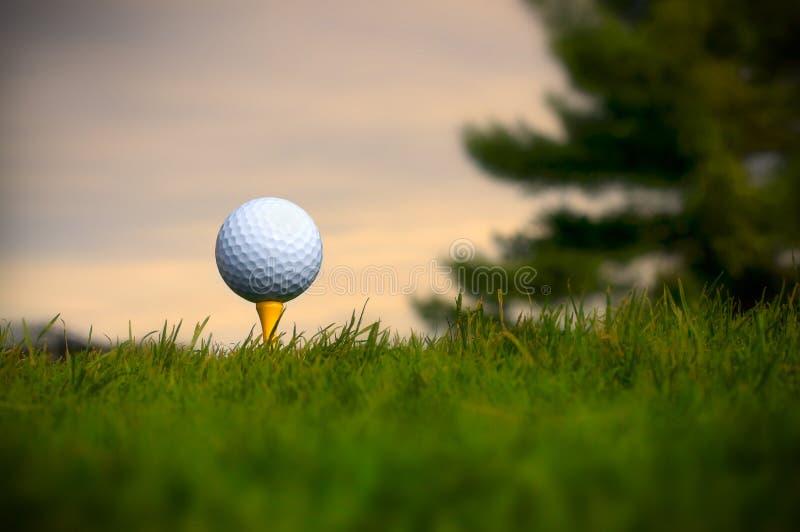 Vit golfboll på gul utslagsplats arkivbilder