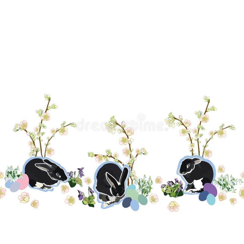 Vit gräns med blommor, kanin och ägget royaltyfri illustrationer