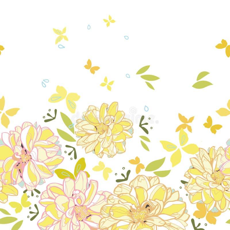 Vit gräns med dahlian och butterfliy stock illustrationer
