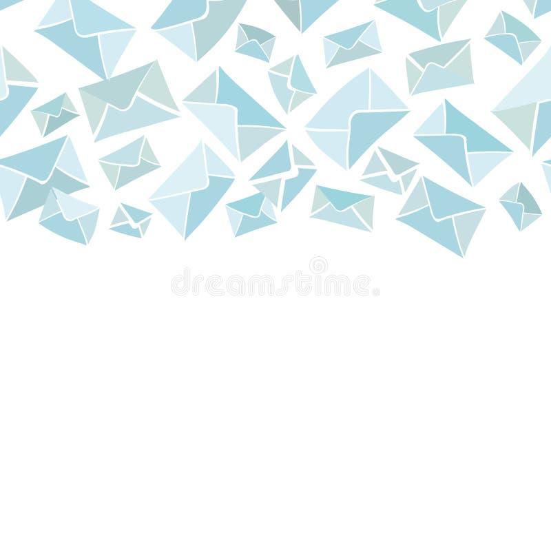 Vit gräns med det blåa kuvertet royaltyfri illustrationer