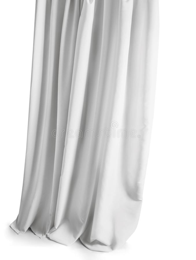 Vit grå gardin som isoleras på en vit bakgrund arkivfoton