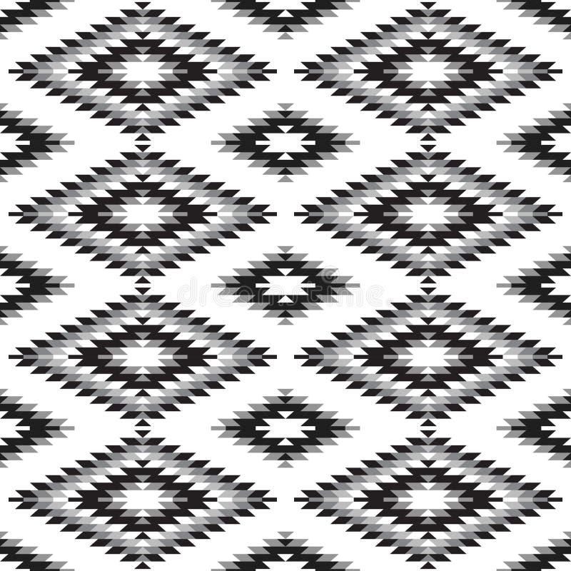 Vit grå svart för sömlös matta för modell turkisk Filt för kilim för patchworkmosaik orientalisk med den traditionella folk geome royaltyfri illustrationer