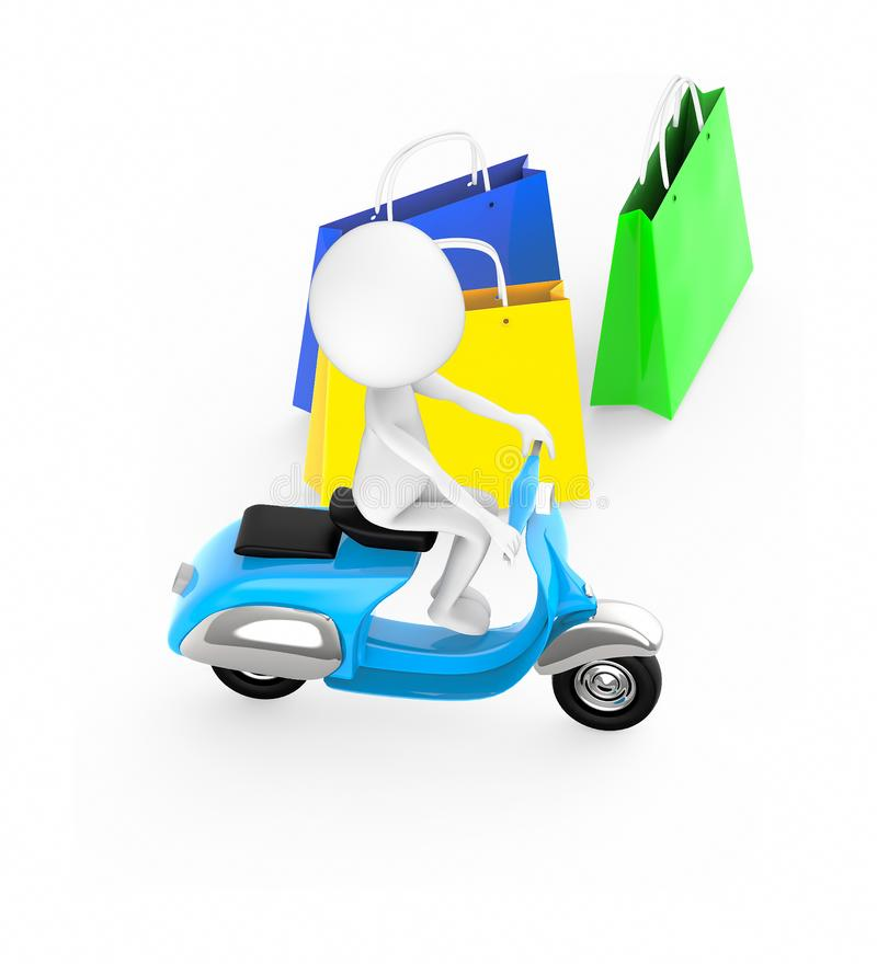 vit grabb som 3d rider en sparkcykel - shoppingpåsar stock illustrationer
