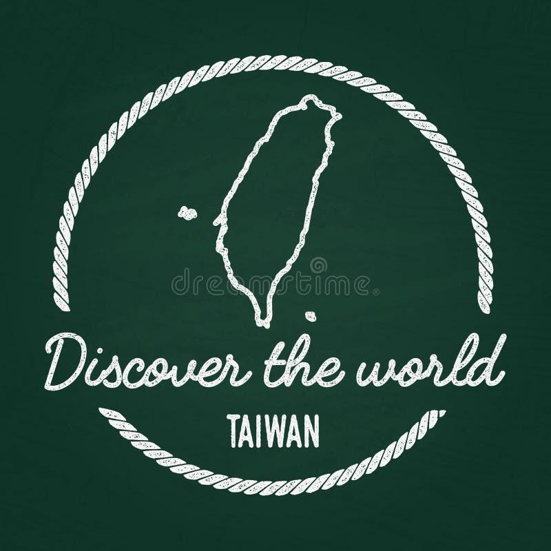 Vit gradbeteckning för kritatexturhipster med Taiwan royaltyfri illustrationer