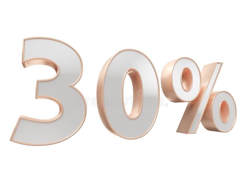 Vit guld, förkopprar femtio procent som isoleras på vit bakgrund 50 3d illustration Renderer royaltyfri illustrationer