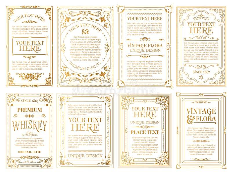 Vit guld-inramade etiketter royaltyfri illustrationer