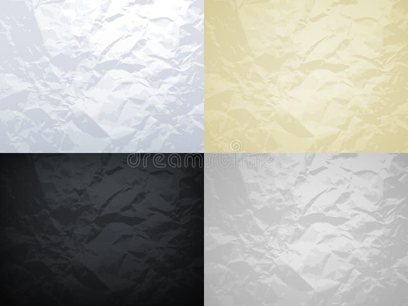 Vit, guling, svart och grå färger skrynklade den pappers- vektortexturuppsättningen vektor illustrationer