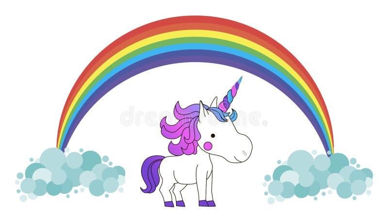 Vit gullig enhörning med regnbågehår Kawaii fantasidjur med regnbågen och moln vektor illustrationer