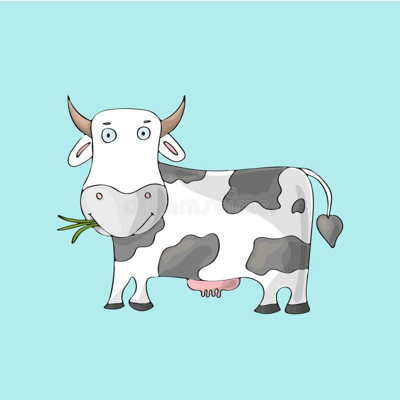 Vit gullig ko på blå bakgrund Isolerat tecknad filmvektortecken royaltyfri illustrationer