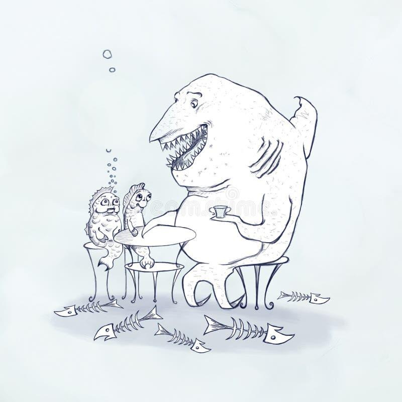 Vit haj som har matställewhithfiskar stock illustrationer
