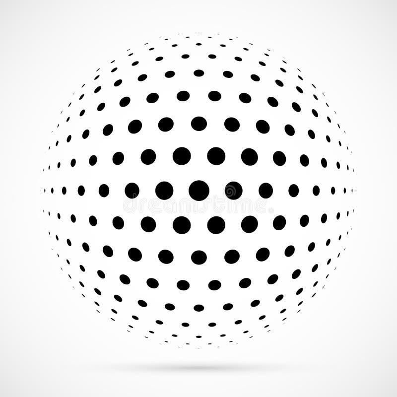 Vit halvtonsfär för vektor 3D Prickig sfärisk bakgrund logo vektor illustrationer