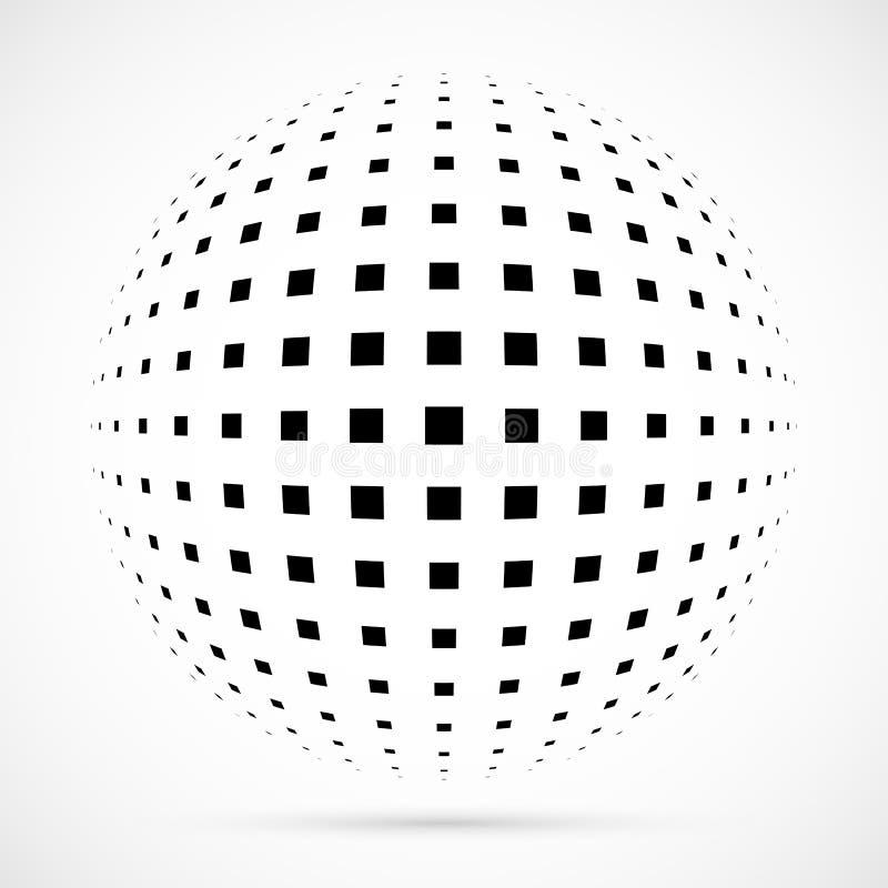 Vit halvtonsfär för vektor 3D Prickig sfärisk bakgrund logo stock illustrationer