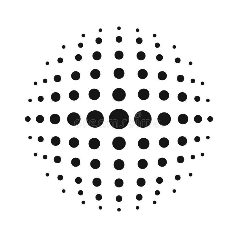 Vit halvtonsfär för vektor 3D Prickig sfärisk bakgrund Logomall med skugga Cirkelprickar som isoleras på den vita bakgrunden royaltyfri illustrationer