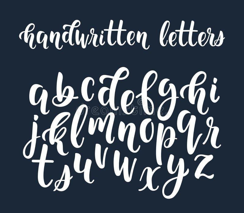 Vit handskriven latinsk kalligrafiborsteskrift av liten le royaltyfri illustrationer