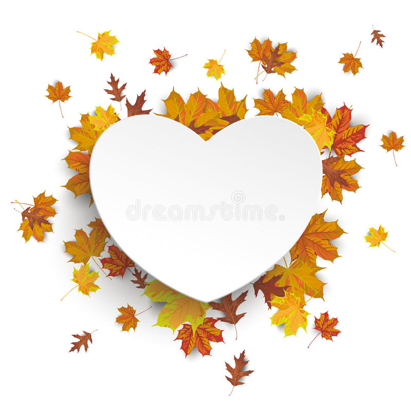 Vit hjärta Autumn Foliage vektor illustrationer
