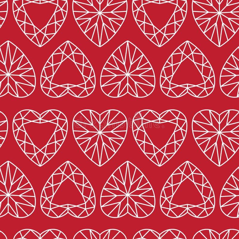 Vit hjärta formade Diamond Seamless Pattern på rött vektor illustrationer