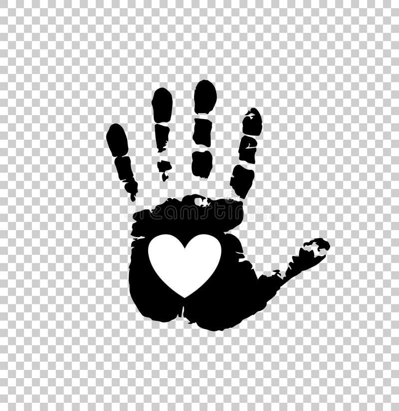Vit hjärta i svart gömma i handflatan trycket royaltyfri illustrationer