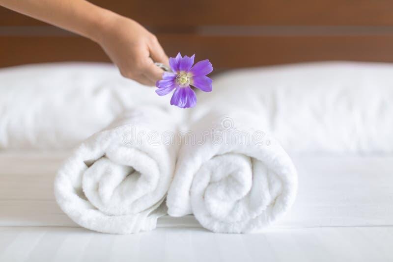 Vit hotellsängark och handdukuppsättning hembiträdelokalvårdsäng för restauranglokal för aptit angenäm service royaltyfri foto
