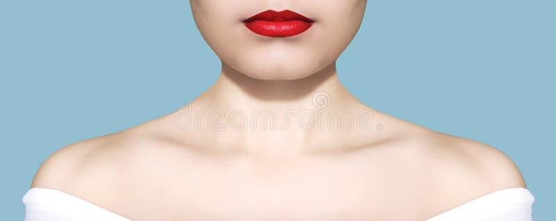 Vit hud för skönhetkvinnastående och röd kantcloseup över blå bakgrundsstudio arkivbilder