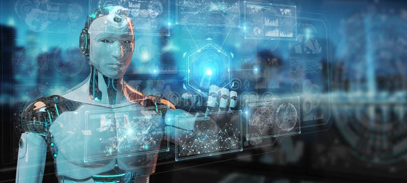 Vit humanoid robot genom att anv?nda den digitala teknologiska man?verenheten med tolkningen f?r data 3D royaltyfri illustrationer