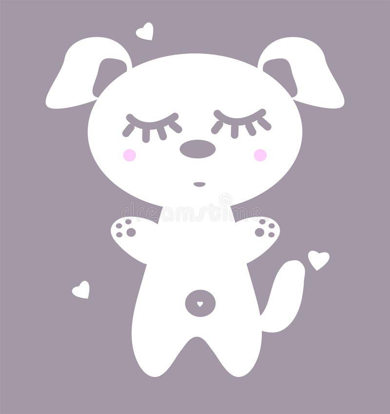Vit hund med rosa kinder E Den roliga valpen sover för tryck på kläder Illustration av en anime royaltyfri illustrationer