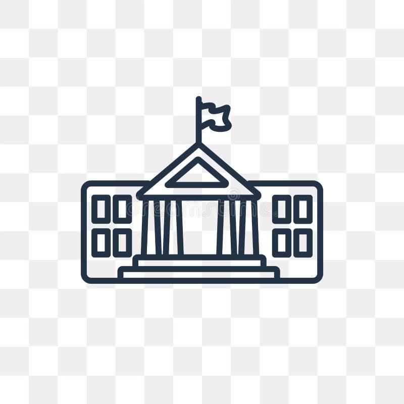 Vit husvektorsymbol som isoleras på genomskinlig bakgrund, linje stock illustrationer