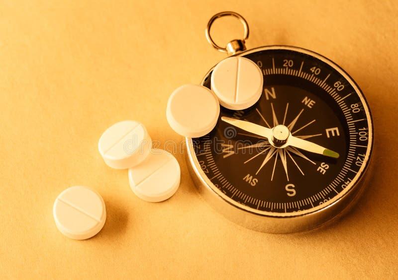 Vit huvudvärkstablettpreventivpillerar och kompass royaltyfri bild
