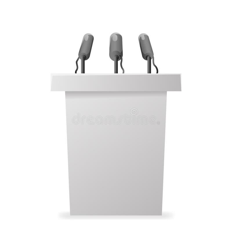 Vit illustration för vektor för design för mikrofon för kapacitet för politiker för valkampanjtribuntalarstol vektor illustrationer