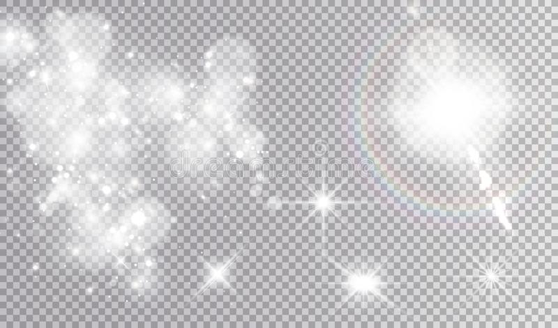Vit illustrationuppsättning för ljusa effekter vektor illustrationer