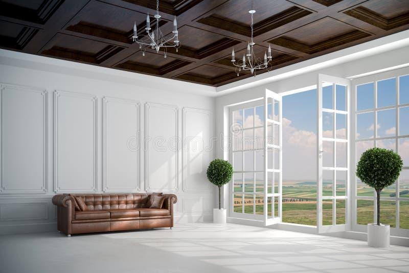 vit inre för härlig tappning 3d med stora fönster vektor illustrationer