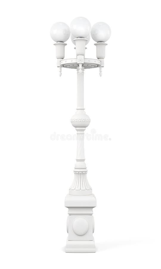 Vit isolerad gatalampa på vit bakgrund framförande 3d royaltyfri illustrationer