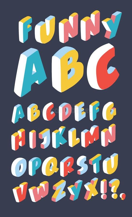 Vit isometrisk 3d stilsort, tredimensionellt alfabet vektor illustrationer