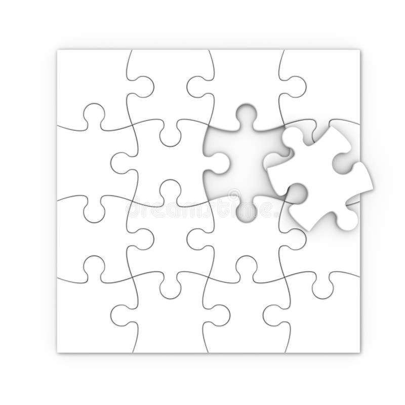 Vit jigsaw. isolerat pussel stock illustrationer