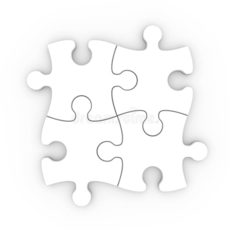 Vit jigsaw. isolerat pussel med clippingbanan stock illustrationer