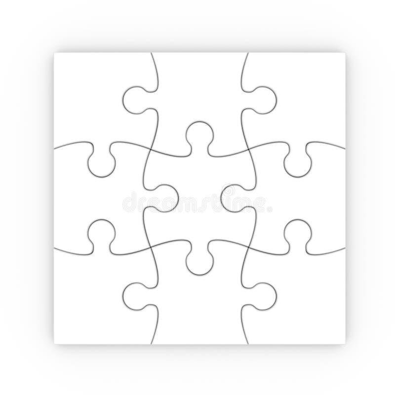Vit jigsaw. pussel med clippingbanan stock illustrationer