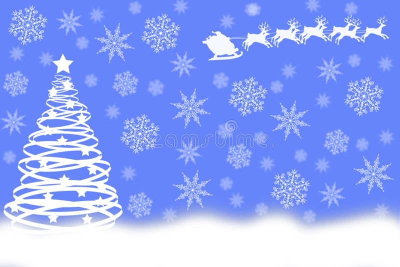 Vit julgran som dras av cirklar med jultomten royaltyfri illustrationer