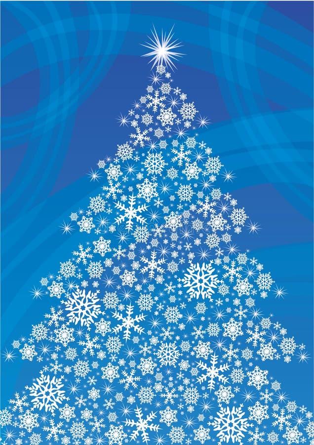 Vit julgran som göras från snöflingor royaltyfri fotografi