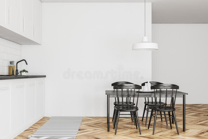 Vit kökinre, svart tabell, trä vektor illustrationer