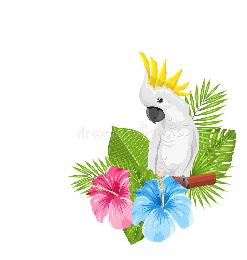 Vit kakadua för papegoja med den färgrika exotiska blommablomningen stock illustrationer