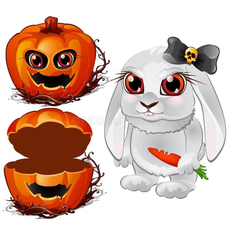 Vit kanin med röda ögon, svartpilbågen och moroten och allhelgonaaftonpumpa Vektorillustration i tecknad filmstil royaltyfri illustrationer