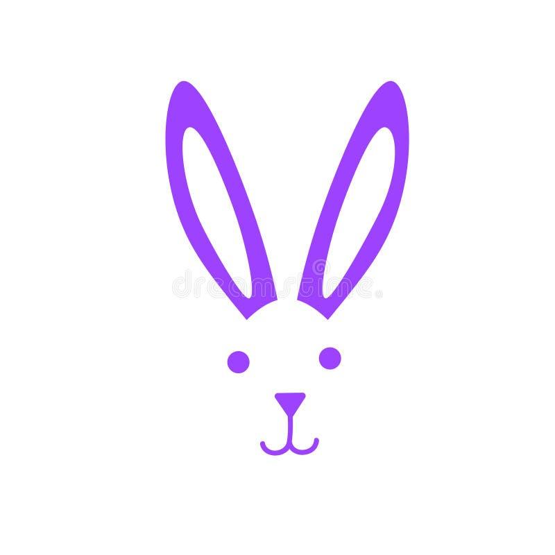 Vit kaninframsida med för påsksymbol för näsa och för öron lycklig garnering för kort för hälsning för ferie för bakgrund stock illustrationer